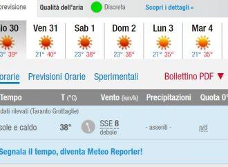 Taranto, allerta caldo sino al 2 agosto