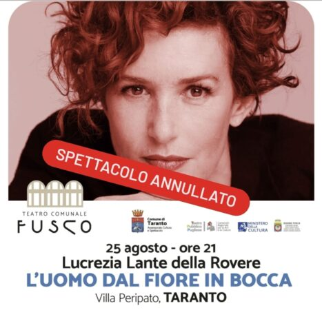 Taranto, annullato lo spettacolo con Lucrezia Lante della Rovere